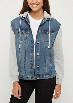 Vintage Knit Hooded Boyfriend Jean Jacket