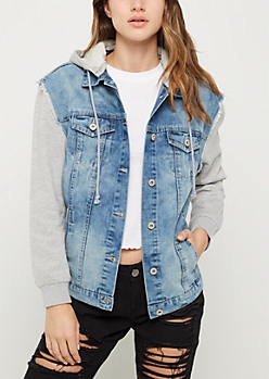 Sandblasted Knit Hooded Boyfriend Jean Jacket