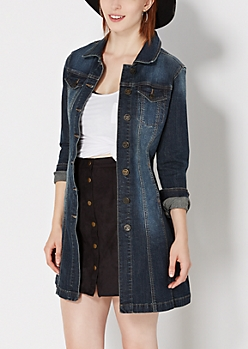 Vintage Denim Duster Jacket