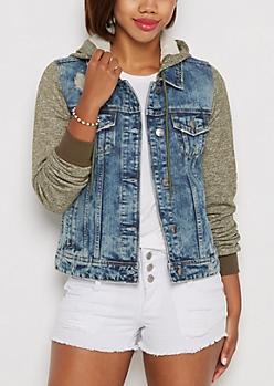Olive Marled Hooded Jean Jacket