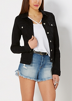 Black Button Down Denim Jacket