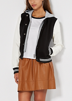 Black Hooded Varsity Jacket