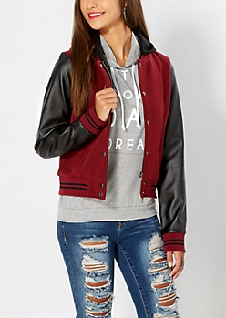 Burgundy Hooded Varsity Jacket