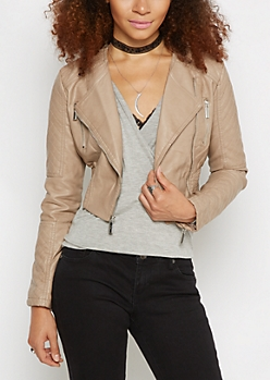 Smocked & Cropped Moto Jacket