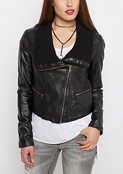 Vegan Leather Knit Collar Jacket