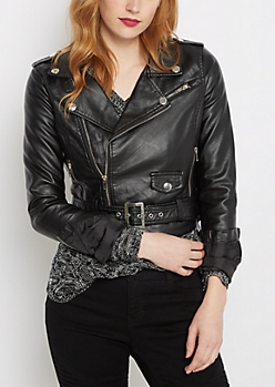 Buckled Vegan Leather Moto Jacket