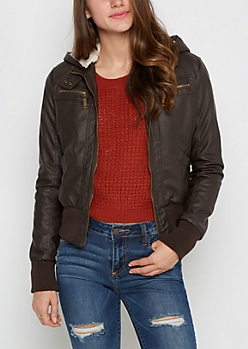 Brown Faux Fur Lined Moto Jacket