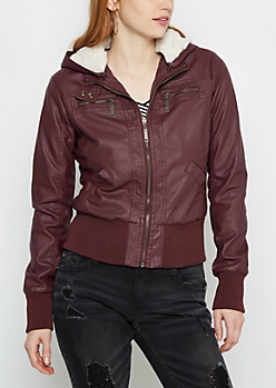 Burgundy Faux Fur Lined Moto Jacket