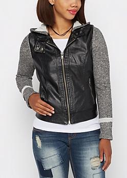 Marled Knit Moto Jacket