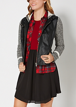 Marled & Hooded Moto Jacket