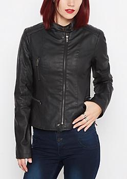 Black Washed Moto Jacket