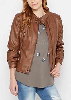 Cognac Washed Moto Jacket