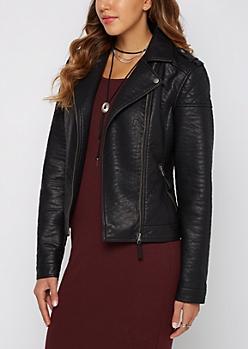 Black Washed Vegan Leather Moto Jacket