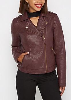 Burgundy Washed Vegan Leather Moto Jacket