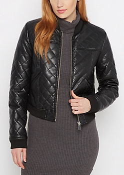 Quilted Faux Leather Bomber