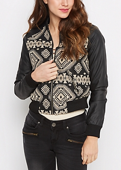 Black Geo Aztec Vegan Leather Jacket