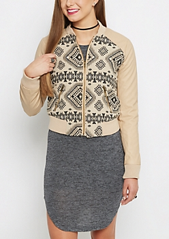 Tan Geo Aztec Vegan Leather Jacket