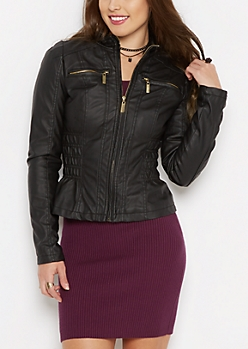 Ruched Vegan Leather Jacket