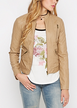 Tri-Zip Pocket Faux Leather Jacket
