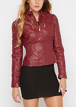 Burgundy Ruched Vegan Leather Jacket