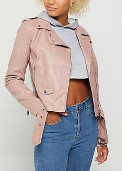 Pink Belted Moto Jacket