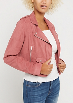 Pink Faux Suede Moto Jacket