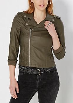 Olive Green Coated Moto Jacket