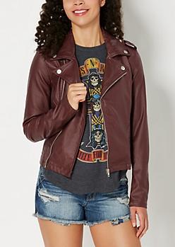 Burgundy Coated Moto Jacket