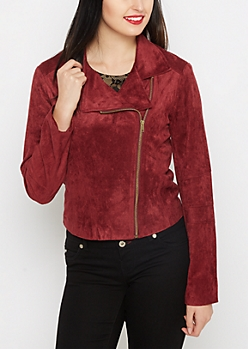 Burgundy Faux Suede Moto Jacket