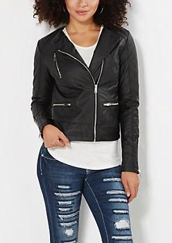 Stitched Faux Leather Moto Jacket