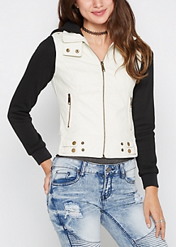 White Jersey Knit Hooded Moto Jacket