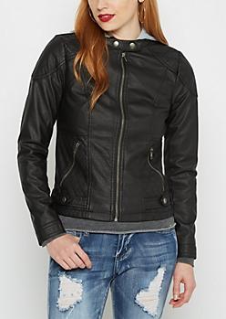 Black Knit Hood Moto Jacket
