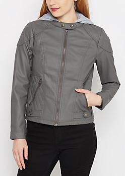 Gray Knit Hood Moto Jacket