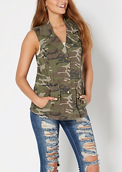 Camo Button Down Vest