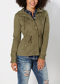 Dark Olive Hooded Twill Anorak