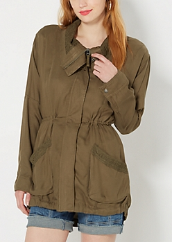 Lace Trimmed Twill Anorak
