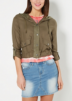 Olive Cropped Twill Anorak