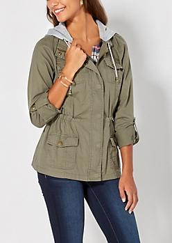 Light Olive Pocketed Anorak Jacket