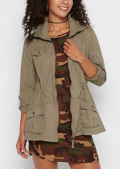 Taupe Zip-Down Twill Jacket