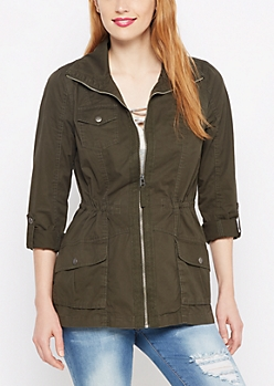 Olive Zip-Down Twill Jacket
