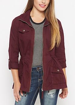 Burgundy Zip-Down Twill Jacket
