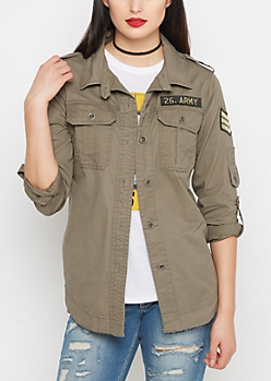 Taupe Military Patched Button Down Jacket