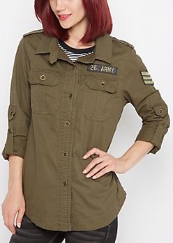 Olive Army Button Down Jacket