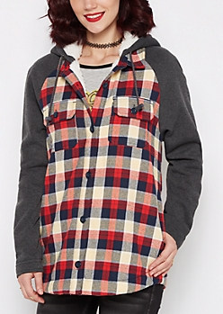Plaid Faux Sherpa Lined Jacket