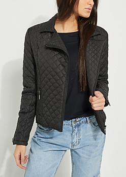 Quilted Puffer Moto Jacket