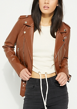 Brown Belted Faux Leather Moto Jacket