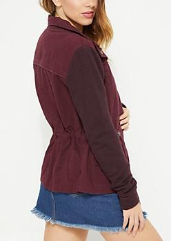 Burgundy Military Style Anorak Jacket