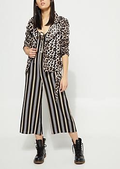 Leopard Belted Faux Leather Moto Jacket