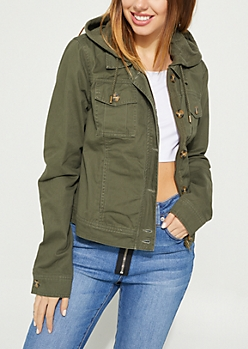 Olive Hooded Button Down Twill Anorak