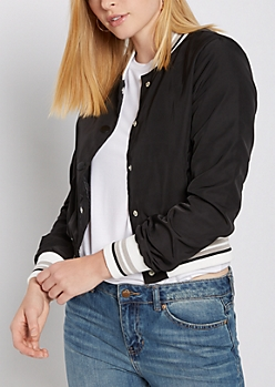 Black Button Down Bomber Jacket